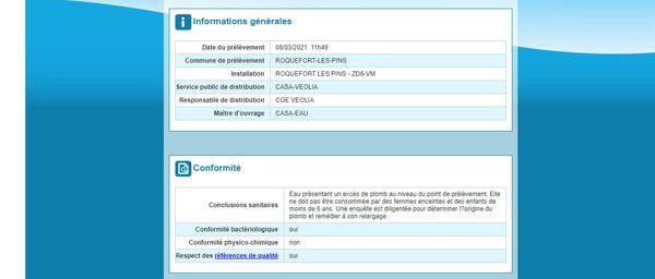 Capture d'écran du bulletin du 08/03/2021 concernant la qualité des eaux destinées à la consommation humaine de Roquefort sur le site orobnat.sante.gouv.