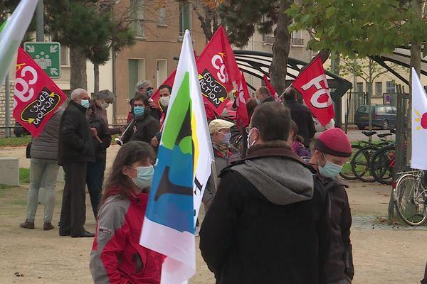Une manifestation d'enseignants devant le rectorat de Dijon le 10 novembre 2020 (archives)
