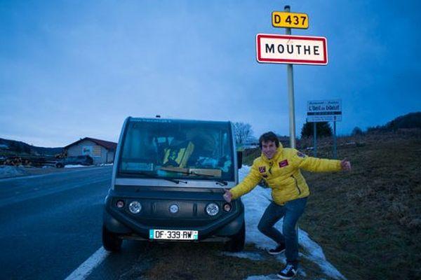Clément Leroy à son arrivée à Mouthe
