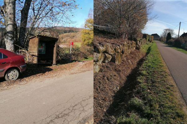 À gauche, l'ancien arrêt dans le hameau de Porcmignon, à Brassy. À droite, le nouvel arrêt du car depuis la rentrée.