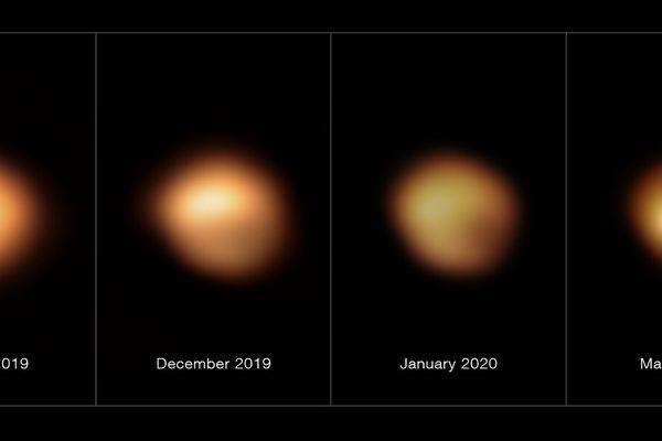 La surface de Bételgeuse avant et pendant sa grande diminution d'intensité lumineuse de 2019 à 2020