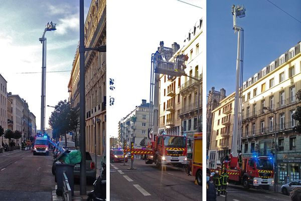 Rouen  le 18 janvier 2021 : intervention des pompiers au niveau de la toiture d'un immeuble de la rue Jeanne d'Arc