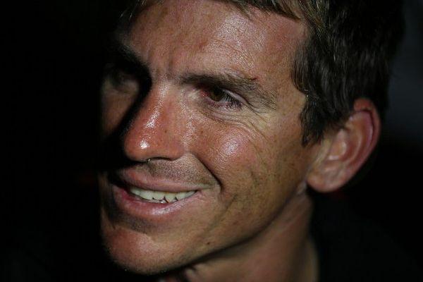 Le navigateur Xavier Macaire lors de la Solitaire du Figaro en juin 2015