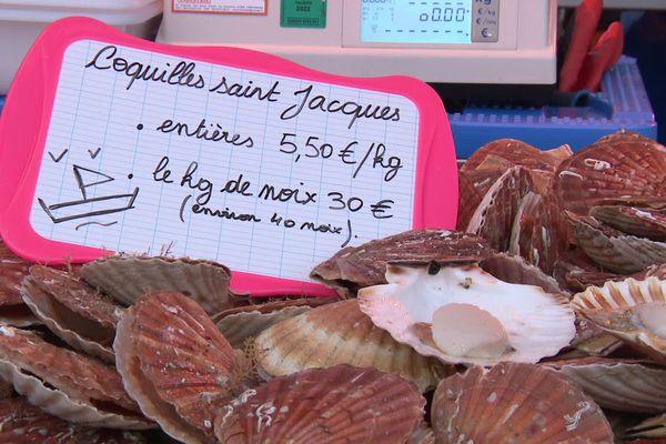 Les premières coquilles St-Jacques sont vendues aux alentours de 6 euros le kilo sur les étals des poissonniers.