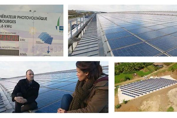 Parc photovoltaïque de Quadran sur un entrepôt logistique à Bourges, parc photovoltaïque de l'entreprise Mascara à Bora-Bora