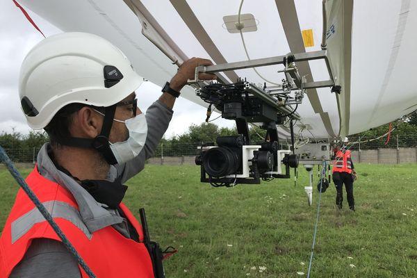 Les équipes du RTE expérimentent pour la dernière fois le diridrone, mercredi 28 juillet 2021.