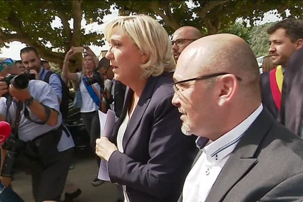 Marine Le Pen à Châteaudouble ce mercredi.