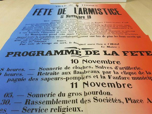 Le programme de la fête, pour le 1er anniversaire de l'Armistice, des 10 et 11 novembre 1919