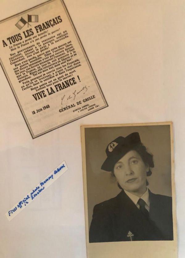 L'appel du 18 juin de Général de Gaulle et une photo de Mathilde Bravery en 1940