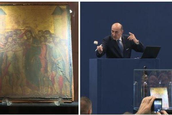 """Le marteau est tombé à 19,5 millions d'euros. Le """"Christ moqué"""" est un chef d'oeuvre très rare du peintre primitif italien Cimabue (1272-1302)"""