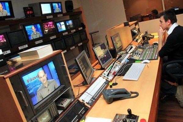 La régie de TV Sud à Montpellier - archives