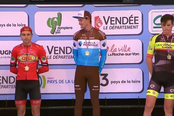 Le podium du Tour de Vendée 2018. L'allemand Nico Denz, vainqueur de la course / Le belge Lennert Teugels (Cibel-Cebon) 2ème et le suisse Gian Friesecke (Vorarlberg Santic) 3ème