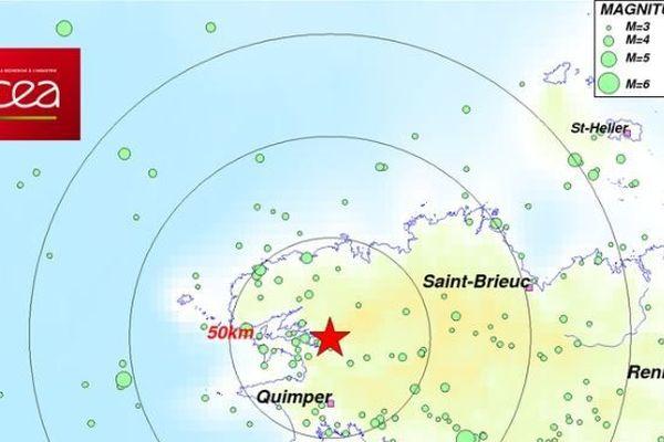 Localisation du séisme de magnitude 3 du côté de Brest - 20/09/2108