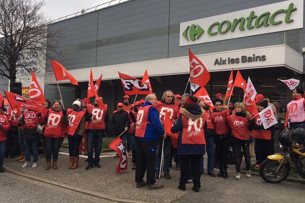 La mobilisation des délégués syndicaux de Carrefour à Aix-les-Bains