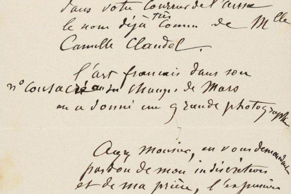 Dans son courrier de 1892, Auguste Rodin ne tarit pas d'éloges lorsqu'il évoque le travail de Camille Claudel.