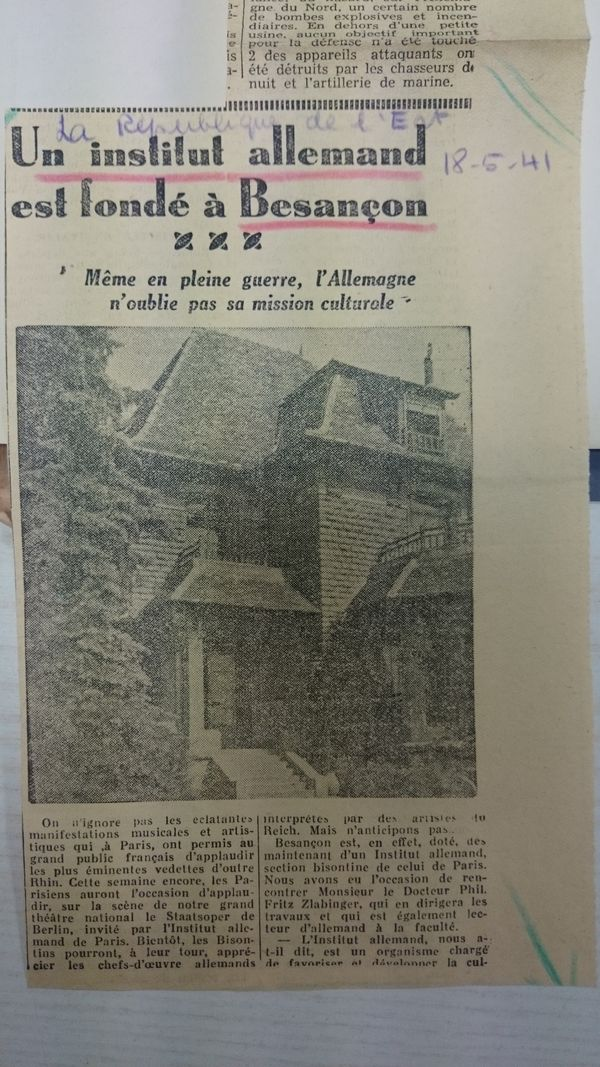 Coupure de presse conservée par le personnel de l'Institut allemand de Besançon (R51-315)