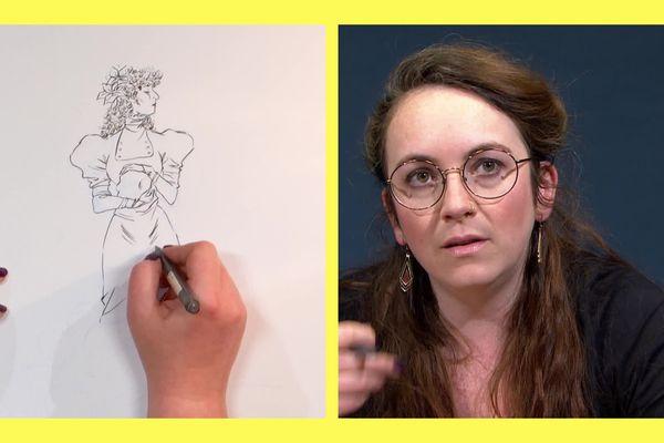 Marie Avril dessine un portrait de Sarah Bernhardt dans Trait pour trait