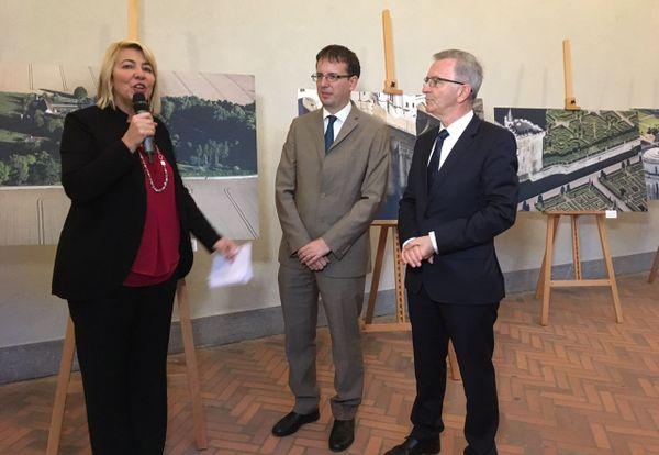 François Bonneau , le Président de la Région Centre Val de Loire et Filippo del Corno, adjoint à la Culture à Milan au château Sforzesca pendant la conférence de presse.