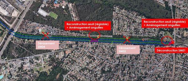 L'ouvrage dont les travaux s'achèvent est au centre de l'image (SM03) et fait partie d'un plan global mise en sécurité du canal.