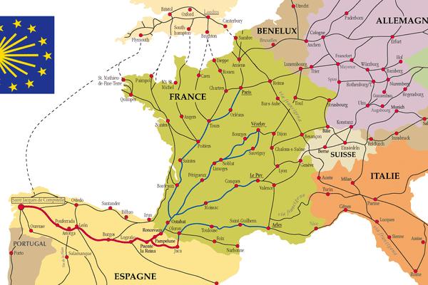 Carte des chemins de Saint-Jacques de Compostelle