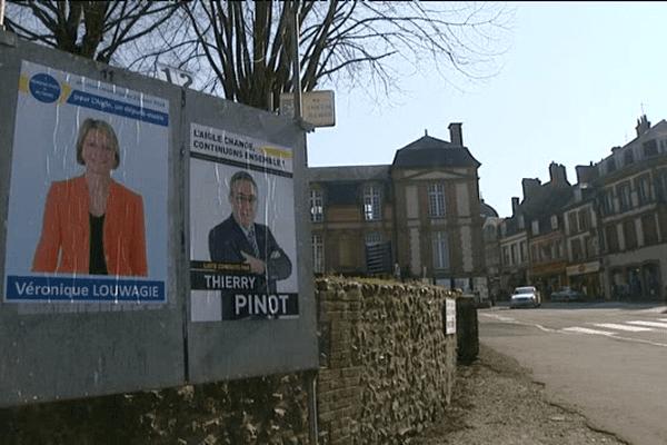 Deux listes s'affrontent à l'Aigle, l'une menée par le maire-sortant PRG Thierry Pinot, l'autre par la députée UMP Véronique Louwagie.