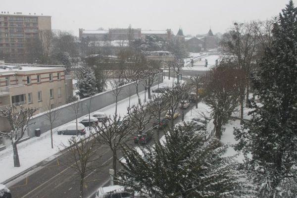 Boulevard Pommery sous la neige