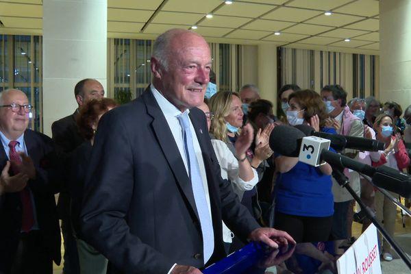 Alain Rousset prononce son discours de victoire au soir du second tour des élections régionales 2021 en Nouvelle-Aquitaine.