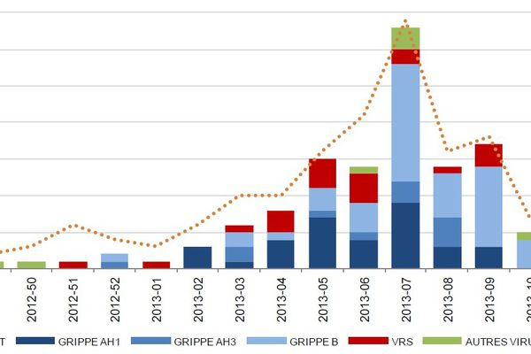 Distribution hebdomadaire des résultats des analyses de prélèvements effectuées par le CNR des virus influenza région Sud, semaines 47 à 14 des saisons 2013-2014 et 2012-2013, Corse