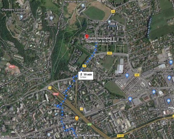 La rue où résidait Nordahl Lelandais début 2013 était située à un peu plus d'un kilomètre de l'hôpital de Bassens.