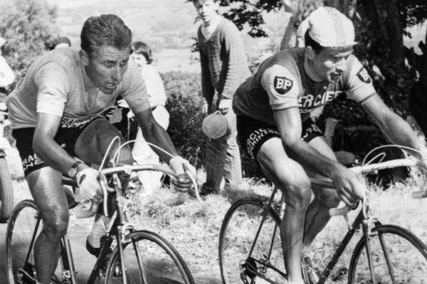 Le Français Jacques Anquetil (à gauche), maillot jaune de leader, est au coude à coude avec son compatriote Raymond Poulidor dans l'ascension du Puy de Dôme, le 12 juillet 1964 lors de la 20ème étape du Tour de France, menant les coureurs de Brive à Clermont-Ferrand. A l'arrivée, Poulidor, 3ème, reprendra 42 secondes à Anquetil, insuffisant cependant pour empêcher le Normand de remporter à Paris son 5ème Tour de France.
