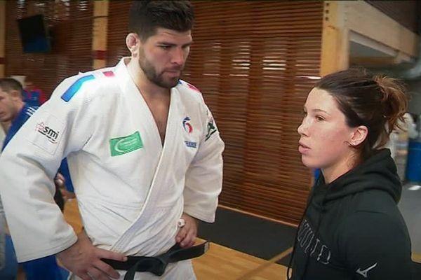 Les deux judokas bourguignons en plein entraînement à l'Insep à Paris en septembre.