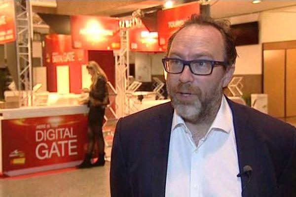 Jimmy Wales, le fondateur de Wikipédia, au Digiworld Summit à Montpellier - 18 novembre 2015