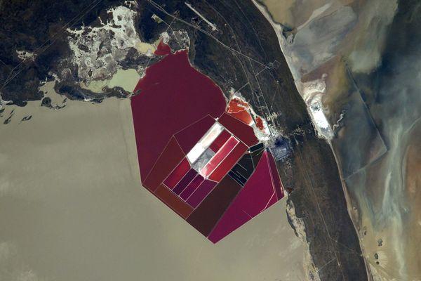 """""""Au Botswana, dans un impressionnant désert de sel, les teintes de rouge d'une mine d'extraction de sodium, apportent un contraste bienvenu. Un pourpre intense que je n'ai pas pu admirer qu'une ou deux fois, et toujours en Afrique."""""""