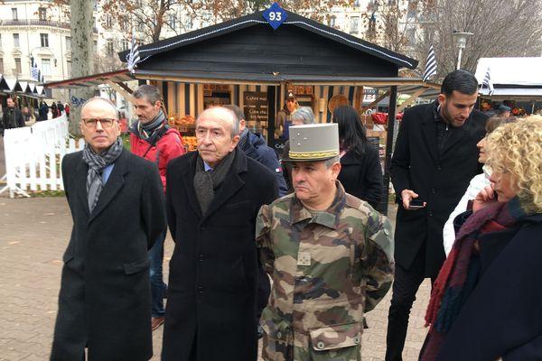 Pascal Mailhos, préfet de la région Auvergne-Rhône-Alpes, Gérard Collomb Maire de Lyon, Philippe Loiacono, général Gouverneur militaire de Lyon
