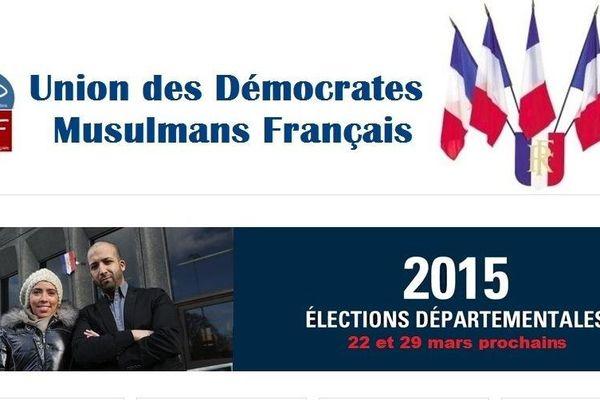 Capture d'écran du site de l'Union des démocrates musulmans français.