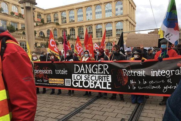 Un projet liberticide, c'est le grief essentiel des manifestants contre la loi de sécurité globale, ce samedi à Montpellier.
