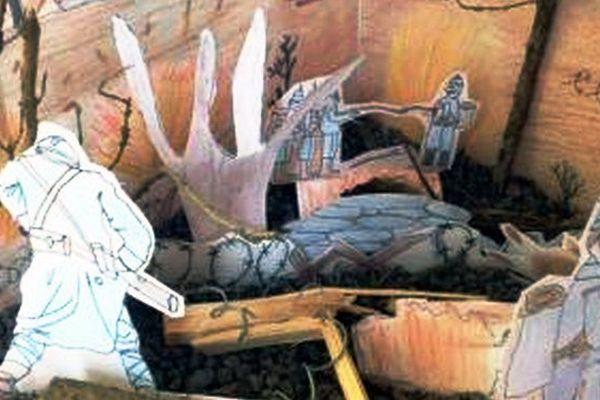 """""""A la mémoire de Joseph Pradeix et des habitants de Sarroux, soldats de la Grande Guerre"""", Ecole de Sarroux (19), classe de M. Benjamin Murzin qui obtient la mention """"originalité"""" au concours national """"Les petits artistes de la mémoire"""" en 2015."""