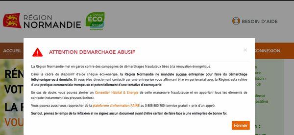 Avertissement sur le site de la Région contre les pratiques frauduleuses du secteur