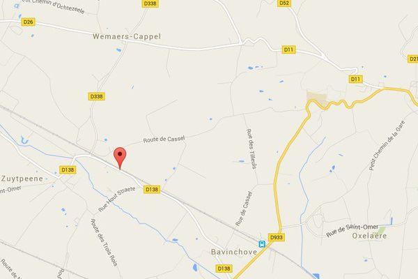 L'accident a eu lieu entre la Houte Straete et Wemaers-Cappel, à Zuytpeene sur la route de Bavinchove