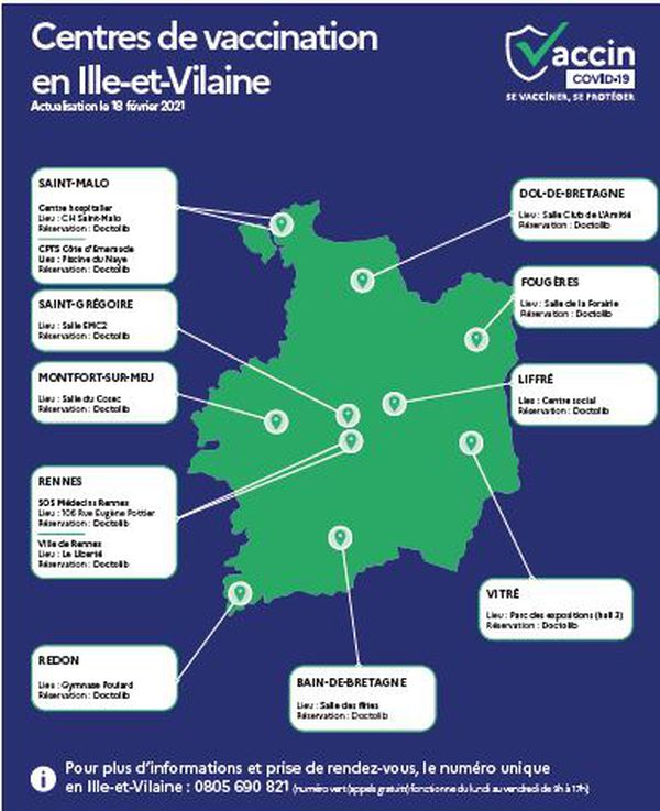 A partir du 22 février, 12 centres de vaccination seront ouverts au public en Ille-et-Vilaine