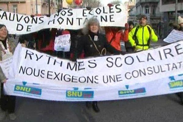 Perpignan - manifestation des enseignants contre la réforme des rythmes scolaires - 12 février 2013.