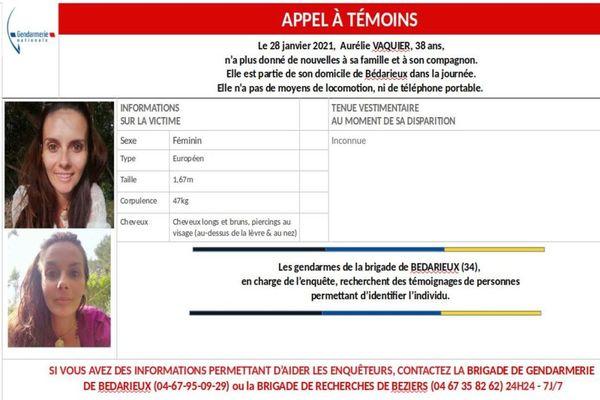 Le 28 janvier, Aurélie Vaquier, 38 ans, n'a plus donné de nouvelles à sa famille et à son compagnon. Elle est partie de son domicile de Bédarieux dans la journée.