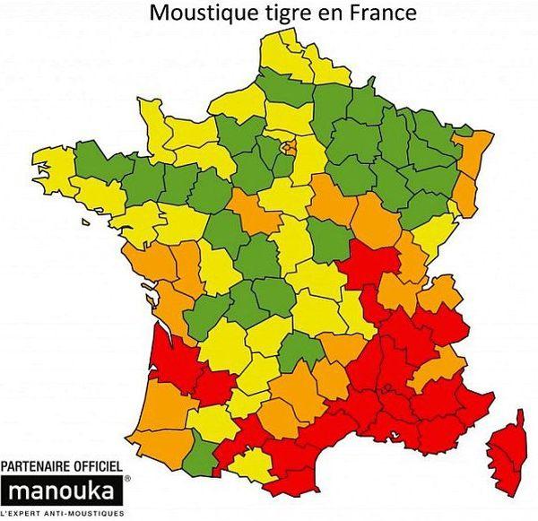 Carte de la présence du moustique tigre en France à l'été, par département - 2015.