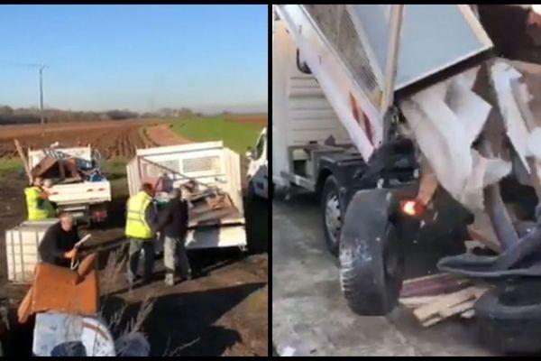 Lundi 6 janvier, les équipes municipales de Laigneville ont collecté les déchets abandonnés en bordure de champ pour les décharger chez l'homme identifié comme l'auteur du dépôt;