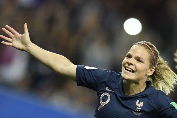 Eugénie Le Sommer après avoir marqué un but lors du match contre la Norvège, à Nice le 12 juin pour le Mondial féminin 2019
