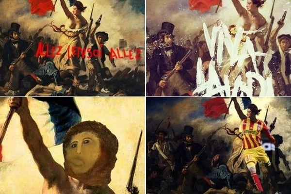 caricatures du Delacroix vandalisé par des internautes, postées sur Twitter.