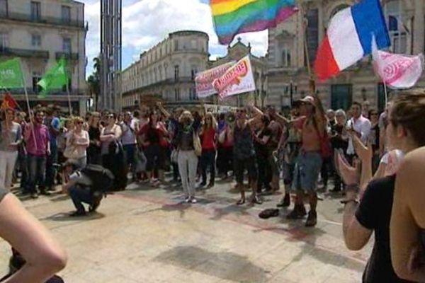 Les manifestants se sont rassemblés en début d'après-midi place de la Comédie à Montpellier.