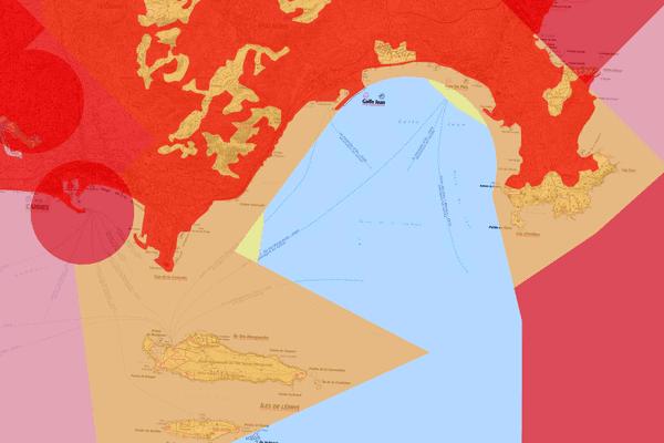 Représentation des zones soumises à interdictions ou à restrictions de drones. Ici, la baie de Cannes.