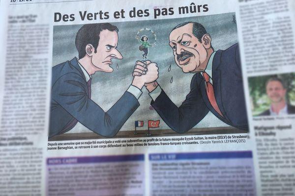 La caricature publiée lundi, assez semblable à la caricature non-publiée le dimanche.