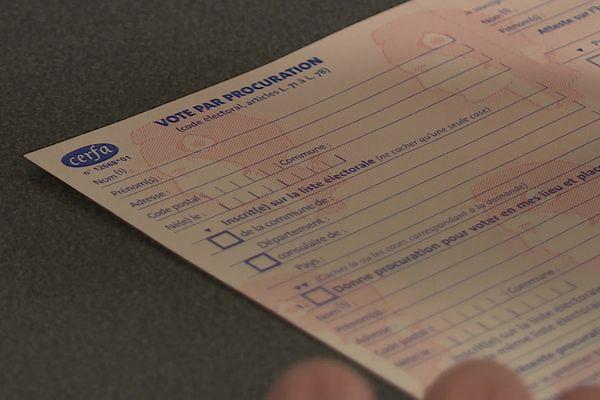 Formulaire de demande de vote par procuration